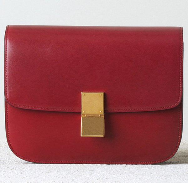 Celine-Medium-Classic-Handbag-in-Red-Box-Calfskin
